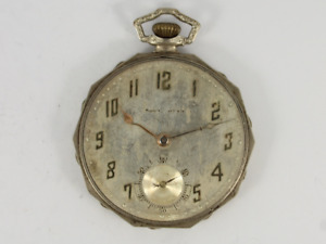 Antique South Bend Pocket Watch 14K White Gold Filled Spares or Repair Jc64
