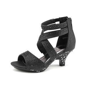 DREAM PAIRS Girls 1.5inch Low Heels Zipper Ankle Pump Sandals Wedding Dress