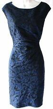 Ralph Lauren jacquard blue knee lenght occasion cocktail dress sz 14P knee l