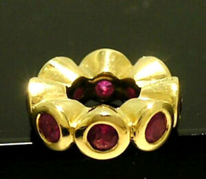 Bd027 Genuine 9K Yellow,White or Rose Gold Natural Ruby Spacer Bead Charm