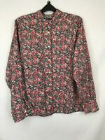 Oxford shirt ladies collared long sleeve floral pink mix cotton size 14 003