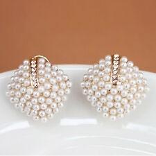 Mode Femme Fille 1 Paire Perle Oreilles Boucle d'Oreille Clou Puce Goujon Bijoux