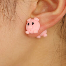 Gift box 9ct yellow gold enamel pink pig piglet farm stud earrings