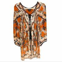 Angie boho spice orange floral tassel kimono sleeve tunic top or dress size S