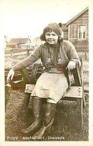 Alaska, AK, Unalaska, Aleutian Girl 1940's Real Photo Postcard