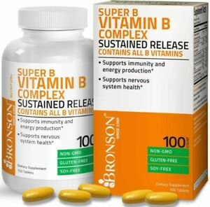 Bronson Super B Vitamin B Complex Sustained Slow 100 100 Count (Pack of 1)