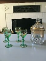 Vintage Apothecary Anchor Hocking? Jar with Mini Green Glass Vintage Barware