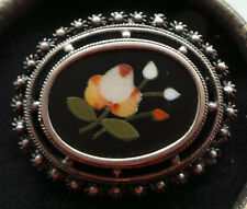 Pietra Dura Brosche antik Blüten Silber 800 Mosaic Filigree Pin Brooch