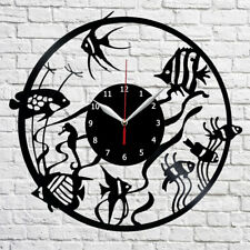 "Fishes Vinyl Record Wall Clock Art Home Decor 12"" 30cm 482"