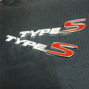 2x White TYPE-S Metal Badge Sticker Emblem Coupe Decal fit si Sport Engine Motor