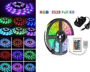 15M 10M 5M DIY 3528 SMD RGB LED Strip Lights Lamp + 24Key IR Remote Controller