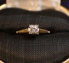Vintage Estate 14K Yellow Gold Diamond Solitaire Ring size 4