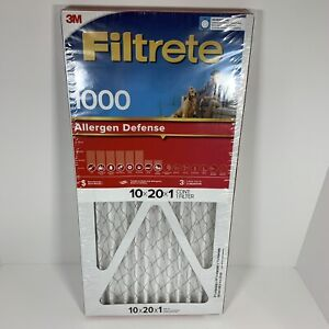 Lot of 8: 10x20x1 Filtrete Allergen Defense 1000 Filter by 3M - 3 Month Filters