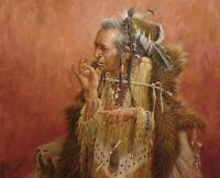 "Native American Storyteller, Digitally Printed Fabric Panel 36"" x 44"""