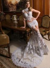 Mermaid New 2018 Sleeveless See Through Lace Tulle Wedding Dresses Bridal Gowns