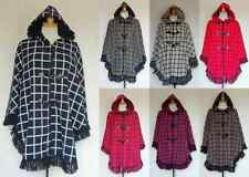 NEW LADIES FLEECE HOODED CHECK WARM ZIP TOGGLE PONCHO CAPE SHAWL PLUS SIZE 16-32