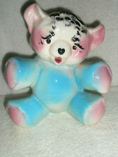 Vintage Sitting Teddy Bear Planter Blue and Pink 1940s-1950s