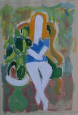 Tracy, Seated Girl in White Fauvist Watercolor Painting-1969-August Mosca