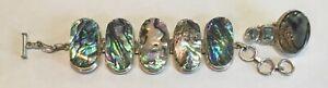 Vintage Abalone & Sterling Silver Artist Signed MD Bracelet Mexican Southwest +