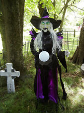 ANIMATED 6 FOOT LIFE SIZE  MINDY the WITCH with MAGICIAL GLOBE HALLOWEEN PROP