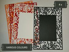 Ornate Rectangle Leaves Paper Die Cuts x4 Scrapbooking Card Topper Embellishment