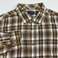 George Button Up Shirt Men's Size XL Long Sleeve Brown White Plaid Cotton Blend