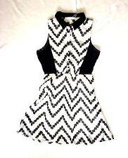NWT BLACK WHITE GEOMETRIC POLKA DOT PRINT FIT-N-FLARE DRESS L 12 14 16