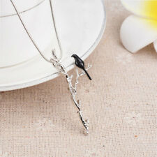 Cute A Bird On Branch Pattern Long Chain Pendant Necklace Women Fashion Jewelry