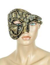 Steampunk Half Mask Gear Spike Punk Goth Fetish Burning man Antique Brass Color