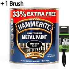 "Hammerite Metal Paint Smooth - Black - 750ml - 33% EXTRA FREE 1L Tin + 2""Brush"