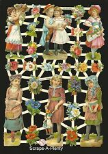 German Victorian Style Embossed Scrap Die Cut - School Children  CUTE   EF7282