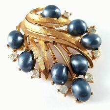 Signed MAMSELLE Vintage Brooch Pin Blue Faux Pearl Leaf Flower Rhinestone BN14