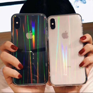 Luxury Rainbow Glitter Phone Case For Phone 11 8 7 Plus XS XR Laser Clear Cover