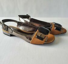 Tory Burch Metallic All Leather Sandals Slingback Low Heel Size 5M Embellished