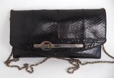 VINTAGE BLACK SNAKESKIN CLUTCH SHOULDER BAG HANDBAG CHAIN STRAP