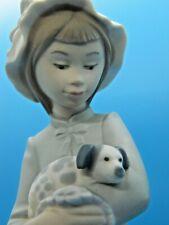 "Lladro Nao #241 Girl Holding Puppy in Blanket Porcelain Figurine 10"" Sweet Girl"