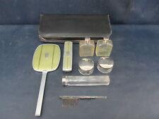 Vintage Art Deco Mens Travel Toiletry Kit Hand Mirror Brush Green Dopp 30s