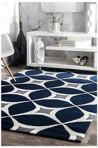 nuLOOM Hand Made Contemporary Geometric Gabriela Area Rug in Navy Blue and Gray