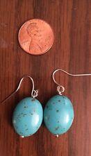 Handmade Turquoise Bead Earrings Blue Oval Dangle