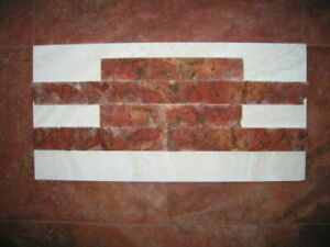Wandverblender Naturstein Sandstein Riemchen Rosso Persia 2x Muster ca.30x5x2cm