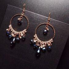 Luxury Big Size Blue Crystal Rhinestone Hoop Earrings For Women Jewelry