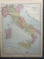 1874 ITALY LARGE COLOURED MAP BY JOHN BARTHOLOMEW
