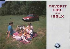 Skoda Favorit 136 L & Lx 1989-92 original del Reino Unido folleto de ventas no. csl-19