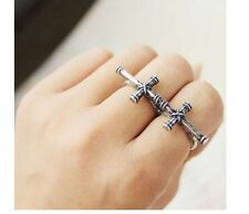 Women Punk Jewelry Charm Retro Silver Plated Holy Cross Two Finger Rings 7/6.25