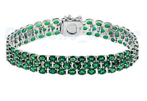 New Emerald 3 Row Tennis Bracelet White Gold over 925 Sterling Silver Three