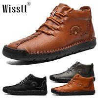 Men's Leather Casual Shoes Chukka Ankle Boots Antiskid Driving Loafers Moccasins