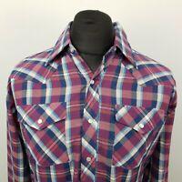 Border Town Mens Vintage Shirt Western Snap MEDIUM Purple Regular Fit Check