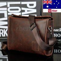 Men's Retro Leather Briefcase Satchel Shoulder Handbag Business Messenger Bag