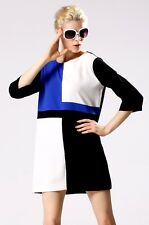 """PEGGY"" GORGEOUS RETRO 70's BLACK WHITE BLUE COLOUR BLOCK SIZE 10 TUNIC DRESS"