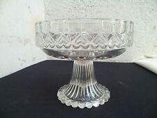 Ancien Coupe à fruits sur pied en cristal taillé d'époque Art-Déco 1930/40